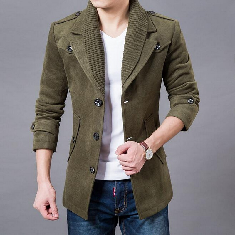 VXO Jacket Blazers Coat Business Woolen Thicken Design Men Casual Single-Breasted Fashion