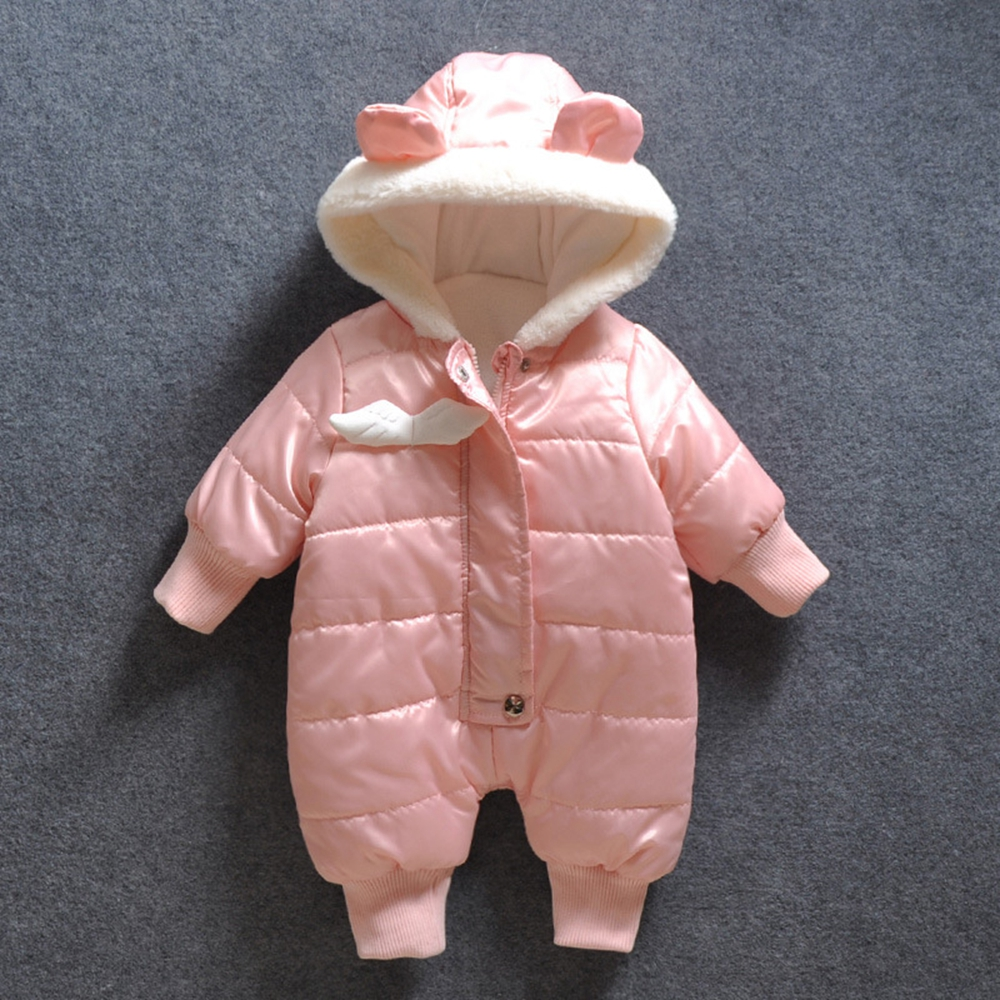 ФОТО 7-24M Baby Rompers Baby Girls Clothes Winter Warm Hooded Jumpsuit Angel Pink Overalls Snow Outfits Enfants Girls Clothing