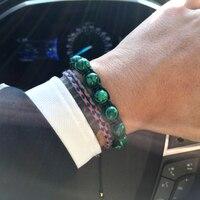Mcllroy braided bracelet men fashion malachite natural stone beads bracelets bangles female pulseira masculina valentine gift