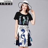 Plus tamaño vestidos de verano de las nuevas mujeres de gran tamaño de manga corta cuello o vestido estampado de dos piezas mini vestido de aline