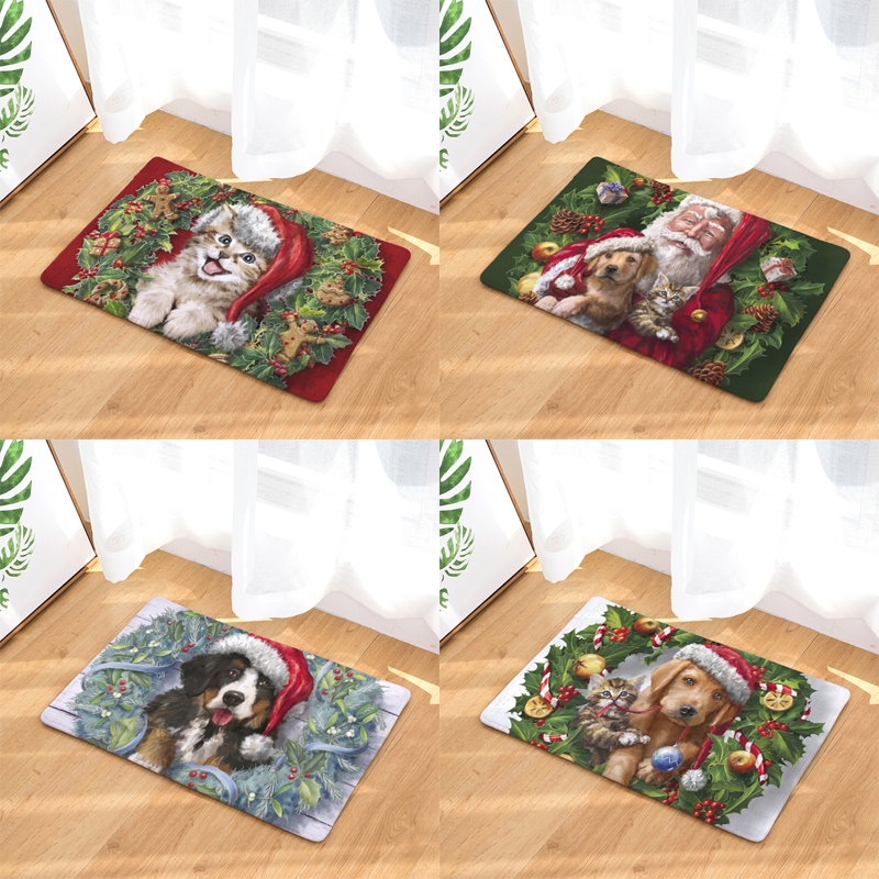 HomingHigh Quality Light Thin Flannel Door Mats Merry Christmas Gift Dog And Cat Mats Kids Bedroom Bedside Foot Pads Home Decor