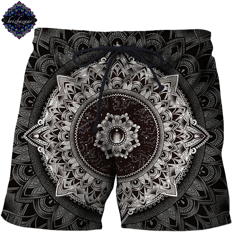 Mandala By Brizbazaar Art Mens Beach Shorts 3D Print Board Short Pant Harajuku Quick Dry Male Shorts 2018 Summer Fashion Short