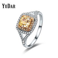 YUDAR Yellow Cushion Cubic Zircon Two Tone Engagement Wedding Ring Best Gifts Rings Bridal Jewelry For