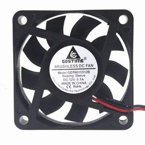 Gdstime 10 шт. 12 В бесшумный вентилятор охлаждения 60x60x15 мм 6015 6 см 2Pin 0.1A DC бесщеточный компьютер процессор чип VGA кулер 60 мм x 15 мм
