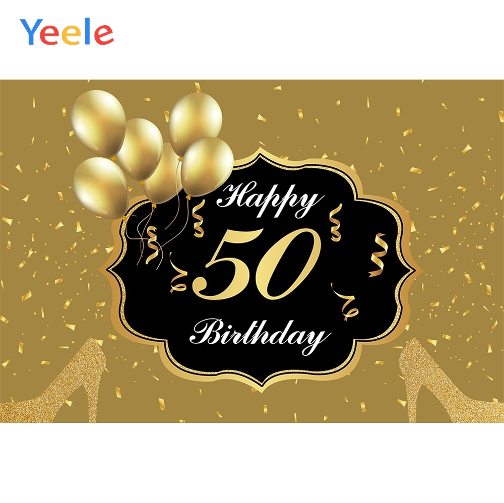 Yeele 50th Birthday Gold Balloons Ribbon High Heels Photography Backdrop Personalized Photographic Backgrounds For Photo Studio