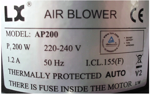 AP200 200W  Bath Pool Air Blower POMPE BULLEUR (BLOWER) - replacing ROCOI WEZUE LDFB-200