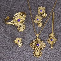 Bangrui Ethiopian Traditio Big Cross Jewelry sets Dubai gold jewelry Gold African Religion Eritrea Catholic Crosses Set