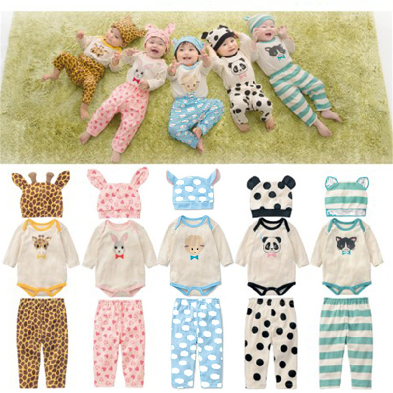3pcs Baby Rompers Spring Baby Girl Clothing Set Cotton Baby Boy Clothes Roupas Bebe Infant Baby Jumpsuits Newborn Clothes 3pcs lot newborn baby rompers bebe boys girls jumpsuits cotton long sleeves infant pajamas babies clothing newborn baby clothes