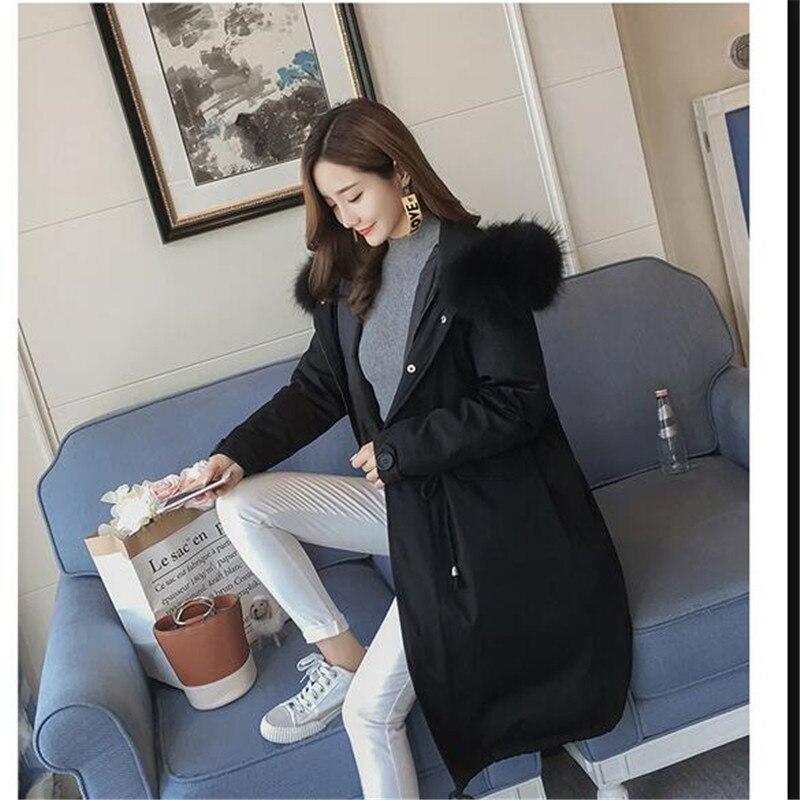 Nouvelle Survêtement Lourd Femmes gray army Black Manteau Moyen Grands coréen Parka Cheveux Style Haute Coton D'hiver Qualité Lâche Chantiers Green Q845 Épaississement De Collier r4rUw