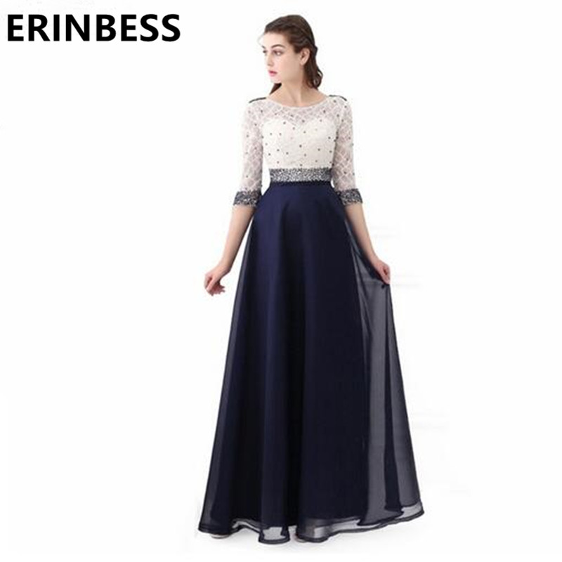 Vestidos De Baile 2019 A Line White And Navy Blue Beaded   Prom     Dresses   Half Sleeve Long Chiffon Women Party Gowns