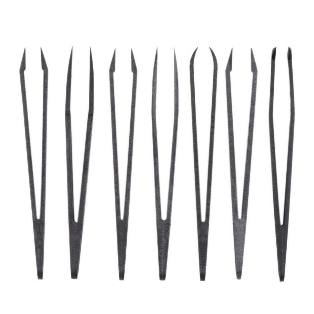 купить 6Pcs/set Anti-static Conductive Tweezer Clip Carbon Fiber Tweezers Kit Plastic Antistatic Straight Curved Hand Tools по цене 97.92 рублей