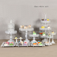 White Cake Stand Round Cupcake Stands Metal Dessert Display With Crystal Beads, White Wedding Cake Tray 13pcs