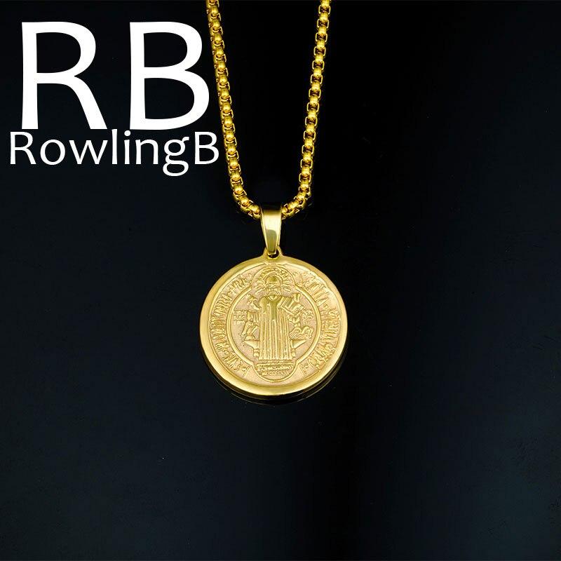 Святой Бенедикт Ожерелья для мужчин круглый золотой медалью Цвет Нержавеющаясталь крест Подвески Цепочки и ожерелья украшения для Для женщин и Для мужчин подарок