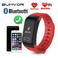 BUMVOR F1 Smart pulsera impermeable reloj deportivo pulsera inteligente recordatorio de llamada paso del pulso del corazón del Monitor prohibición