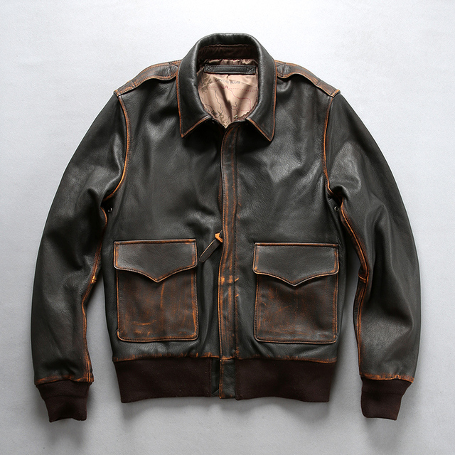 0f208dba919 2018 Vintage Brown Black Men s Genuine Motorcycle Biker Leather Jacket  Casual Cowhide Slim Fit Winter Russia Coats