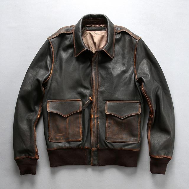 0f208dba919 2018 Vintage Brown Black Men s Genuine Motorcycle Biker Leather Jacket  Casual Cowhide Slim Fit Winter Russia Coats