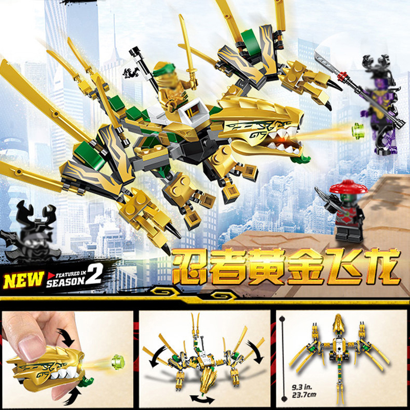 195pcs Golden Dragon Ninjagos Building Blocks Model Kit Compatible with Legoingly Ninjagoed figures Toys for Children