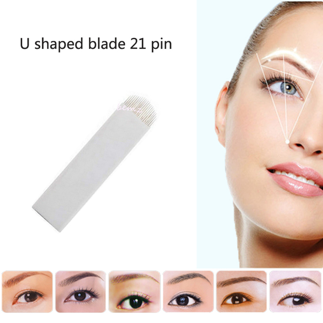 50PCS 21 Pin U Sharp Permanent Makeup Eyebrow Tatoo Blade Microblading Needles For 3D Embroidery Manual Tattoo Pen Machine