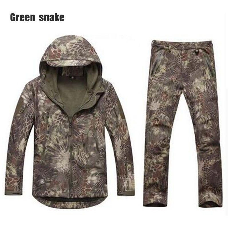 New brand shark skin outdoor hunting camping waterproof windproof warm jacket jacket hoodie TAD soft shell