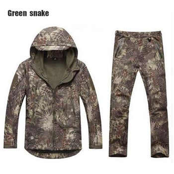 New brand shark skin outdoor hunting camping waterproof windproof warm jacket jacket hoodie TAD soft shell shirt + pants - DISCOUNT ITEM  37% OFF Sports & Entertainment