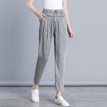 2019 Spring Summer Women Jeans Tencel Harem Pants Casual Loose Trousers High Waist Ankle-Length Mujer