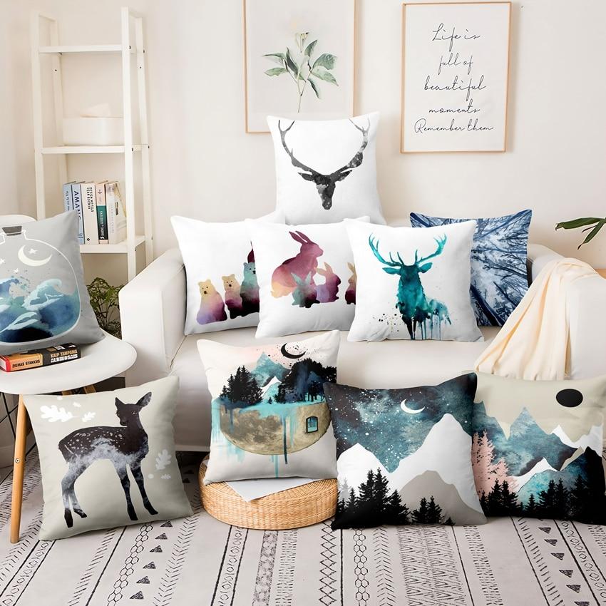 Watercolor Forest Printed Pillowcase Nordic Scandinavia Thin Linen Cushion Decorative Pillow Home Decor Sofa Throw Pillows 45*45