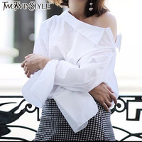 TWOTWINSTYLE Women S Shirt Off Shoulder White Blouses Shirts Autumn Long Sleeve Female Top Big Size
