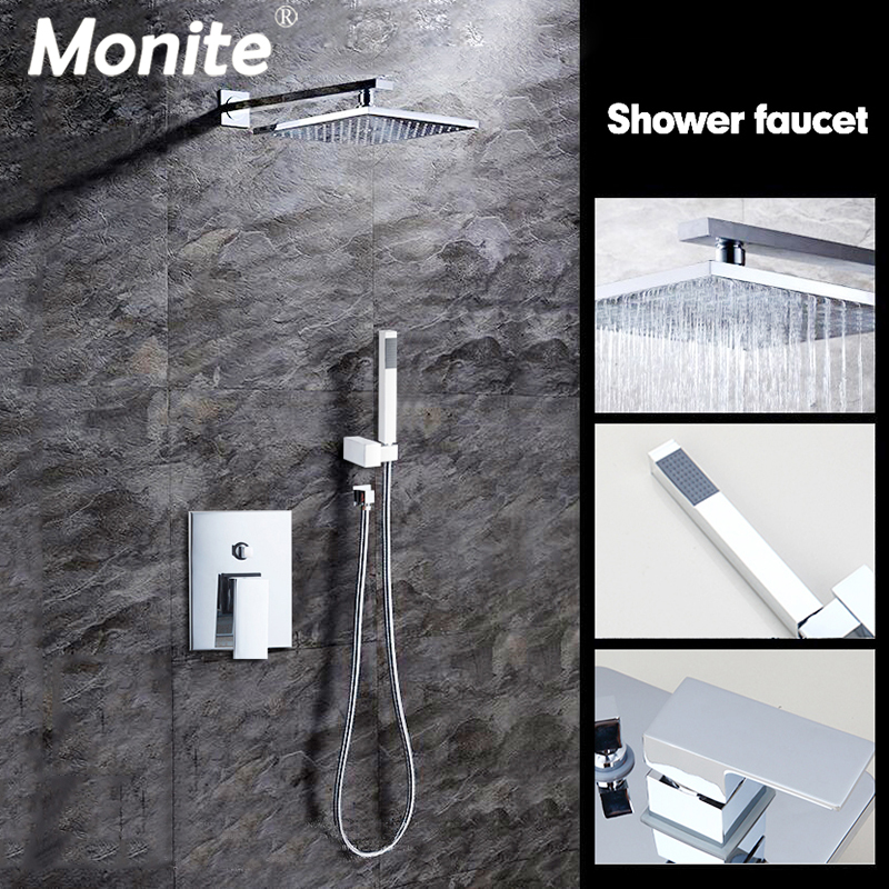 8 Inch Wall Mounted Rain Shower Set Luxury Square Shower Head Shower Set with Hand Shower Chrome 64115