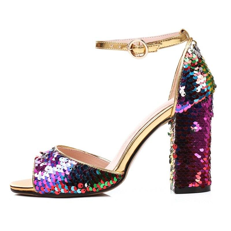 Cm Colorido Sandalias Toe Tamaño Mujeres Multi De Tacones Peep 9 Square Grande Las Alto Super Tacón Señora 45 Sequines Zapatos Bling vFwxKEqP