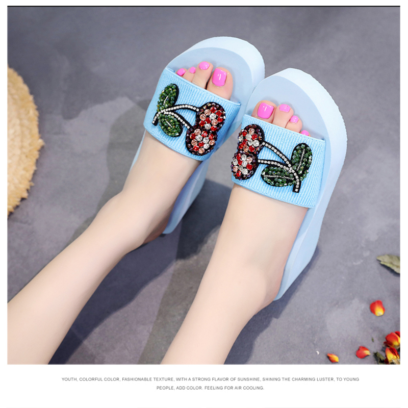 AShwin beach slippers slides sandals summer women shoes wedge platform high  heels quality rhinestones outdoor hawaiian mules -in High Heels from Shoes  on ... eb6811372641
