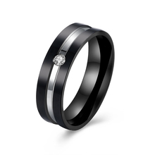 Brand Couple 316L Titanium Steel Rings For Loves Rose Gold And Black Color Zircon Stone Cocktail Women Men Jewels Gift