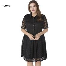 TUHAO 2018 Lace Summer Dresses Plus Size 7XL 6XL 5XL Womens Fashion Sexy Short Sleeve Elegant Office lady Party Dress CM58