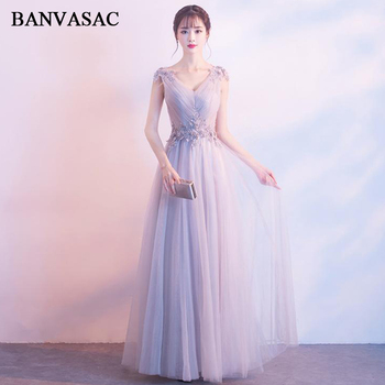 BANVASAC 2018 Pleat V Neck Flowers A Line Long Evening Dresses Party Lace Appliques Backless Tulle Prom Gowns