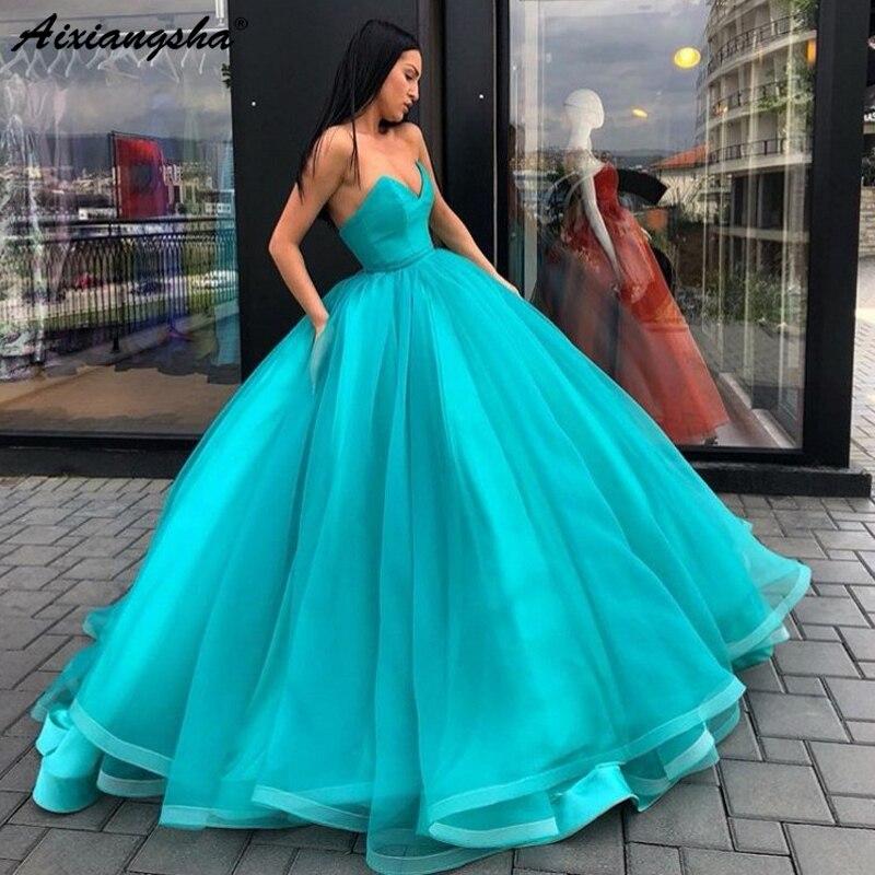 Turquoise robes de bal 2019 longue robe de soirée col en v volants Tulle longue robe de bal à lacets Abiye formelle robe de soirée Abendkleider