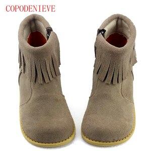 Image 4 - Botas cálidas de invierno para niñas, zapatos para niños, botas de nieve para niñas, botas con flecos para niñas, botas martin para niños, zapatos cálidos