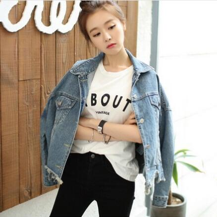 Korean Women Denim Jackets Women s Jeans Jackets Short 2016 Spring Autumn  Fashion Long Sleeve Denim Coat SlimTops E0618 -in Basic Jackets from Women s  ... 35b39bfd3c6b