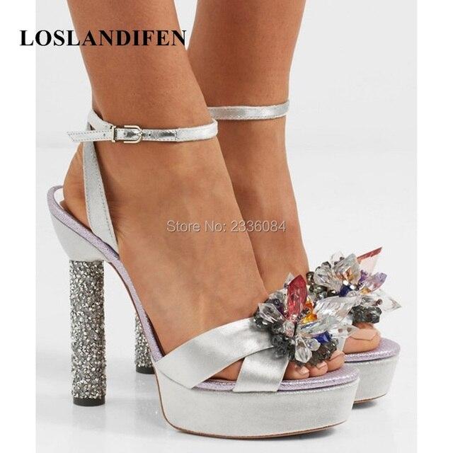 LOSLANDIFEN Famous Designer Shoes Exquisite Crystal Flower Peep Toes Platform Sandals Glitter Thick High Heels Buckle Strap