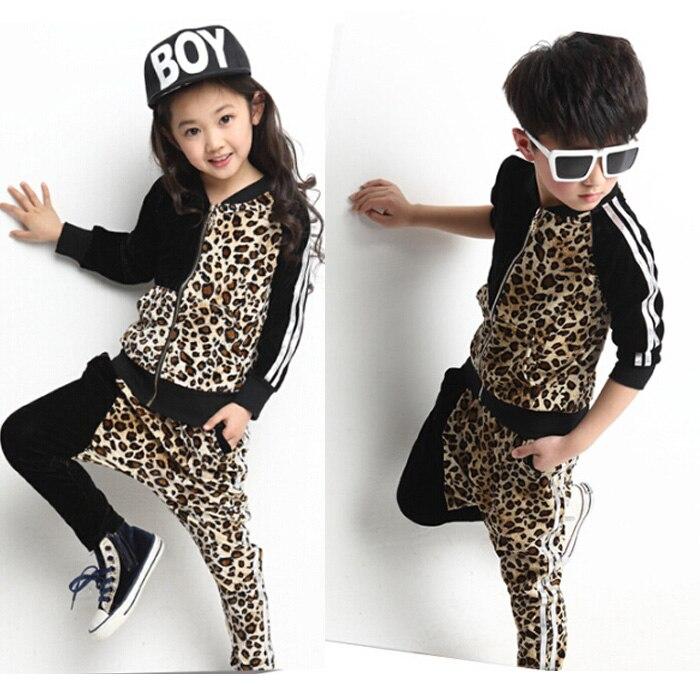 New Korean Kids 2 Pieces Clothing Set Autumn Children Leopard Sport Suits Girls Boys Casual Jacket+ Leopard Harem Pants