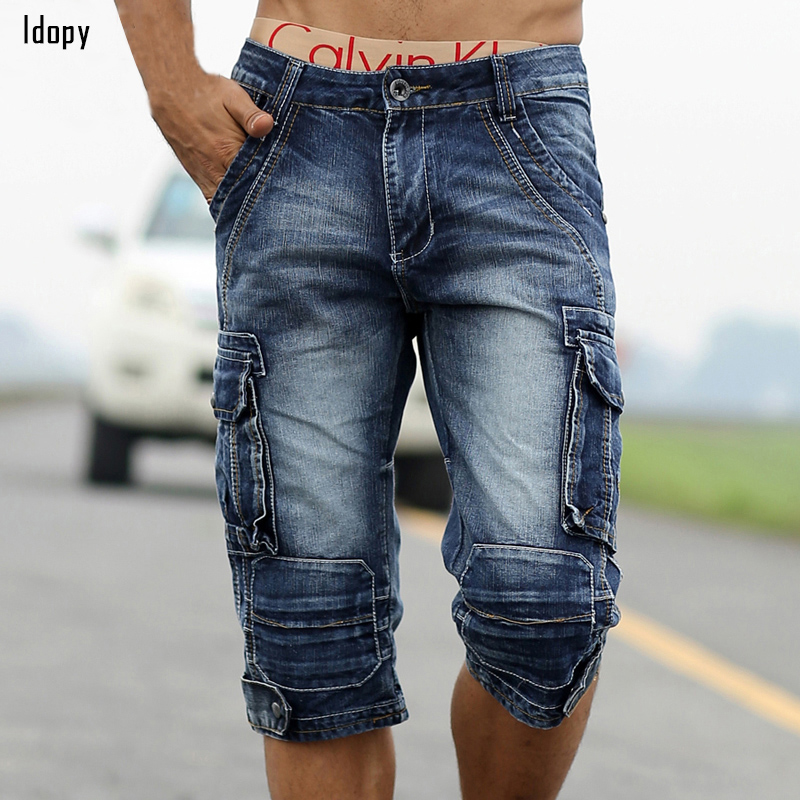 Summer Mens Retro Cargo Denim Shorts Vintage Acid Washed Faded Multi-Pockets Military Style Biker Short Jeans For Men summer mens retro slim fit casual jeans vintage washed street wear cargo denim shorts with holes for men