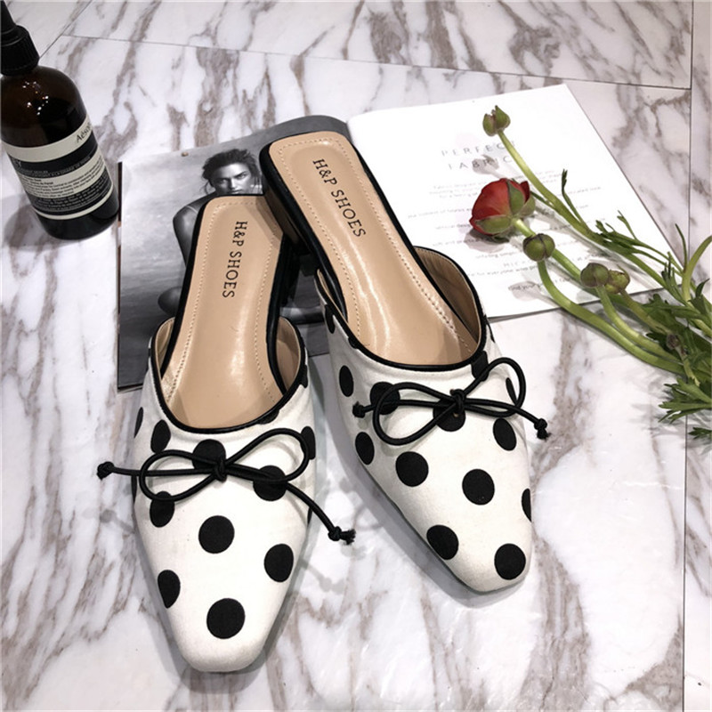 La Maxpa 2018 Slipper Female Summer Pointed Toe Cloth Lattice Muler Shoes Bow Tie Flats With Half butterfly-knot Slippers
