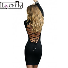 La Chilly Hollow Out womens sexy dress party club Autumn Winter dress Black  Lace Up Back e7d6ea146a7b