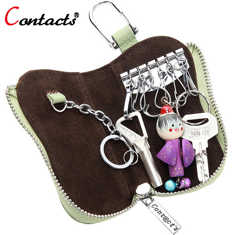 CONTACT S Genuine Leather Key Case Women Fashion Mini Solid Zipper Key Wallet for Ladies Multifunction