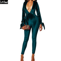 Cultiseed Women Gold Velvet Jumpsuit Rompers Female Sexy Deep V neck Backless Slim Hip Jumpsuit Ladies Solid Color Jumpsuits