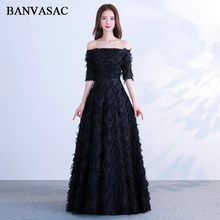 BANVASAC 2018 Elegant A Line Boat Neck Feathers Long Evening Dresses Party Lace Half Sleeve Sash Backless Prom Gowns