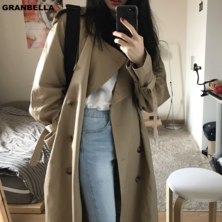 Double Breasted long   Trench   Coat Women Khaki Slim Belt Cloak Mujer Windbreaker Female Plus Size Cloak
