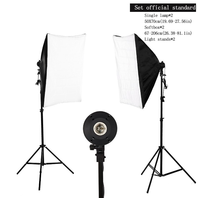 Photography Studio Set:2x135W Soft Box Continuous Lighting&2x50cmx70cm Softbox with diffuser cover with 2x 2m Light Tripod Stand