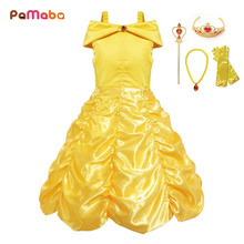 PaMaBa Handpick Belle Princess Dress Cosplay Costume for Toddler Baby Girls Summer Dresses Party Supplies Ball Gown Vestidos