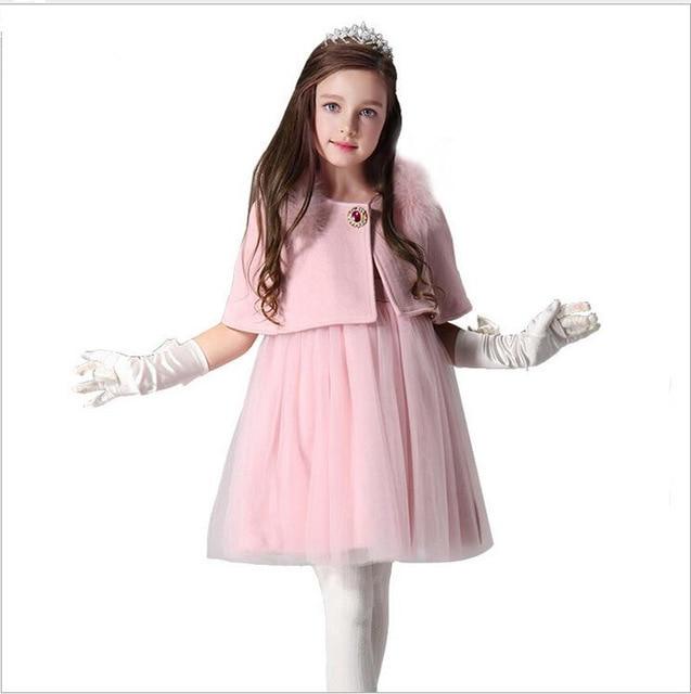 2016 Winter Woolen Girl Vest Dress With Shawl For Girl Princess Party Dresses Wedding Kids Baptism Dress For Girls Tutu Dresses