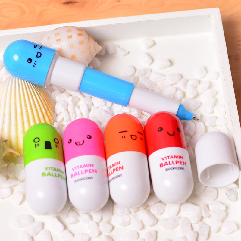 1 Mini Cute Cartoon Retractable Pen Colorful Pill Pen Drawing Play Game Creative Children Student Capsule Pen Gift Child