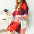 Fashion Winter Scarf Plaid Cape Brand Cashmere Design Big Size Ladies Long Scarves bufandas Shawls and Scarves WJ0161